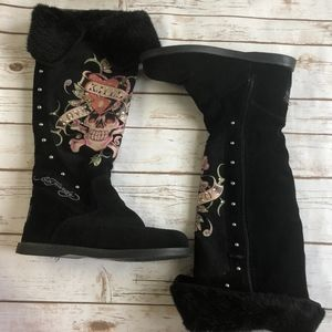 Ed Hardy Love Kills Slowly Suede Boots 10